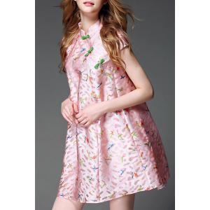 Stand Collar Button Design Birds Pattern Dress -