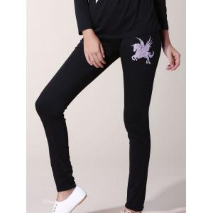 Casual Slash Neck Horse Printed T-Shirt and Elastic Waist Pants Twinset For Women