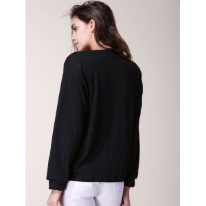 Stylish V-Neck 3/4 Sleeve Zippered Solid Color Women's T-Shirt - BLACK XL