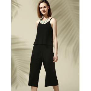 Chic Spaghetti Strap Black Tank Top + Elastic Waist Pure Color Wide Leg Pants Women's Twinset -