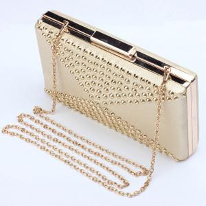 Stylish Rivet and Solid Color Design Evening Bag For Women -