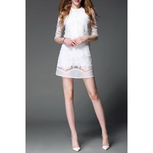 Stand Collar Lace Embroidered See Through Dress -