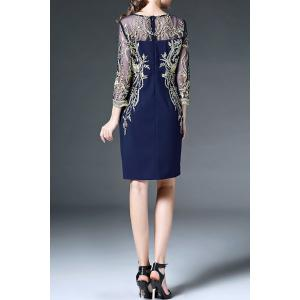 Voile Spliced See-Through Embroidery Dress -