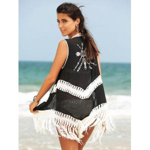 Fringed Hollow Out Printed Swim Short Kimono Cover Up - BLACK ONE SIZE(FIT SIZE XS TO M)