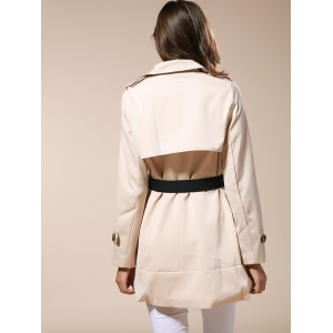 Fashionable Lapel Neck Double-Breasted Solid Color Slimming Women's Trench Coat - APRICOT M