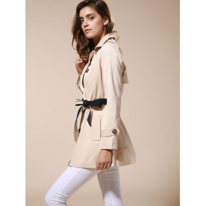 Fashionable Lapel Neck Double-Breasted Solid Color Slimming Women's Trench Coat -