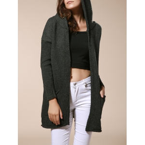 Long Sleeve Pockets Hooded Knit Cardigan - Olive Green - One Size