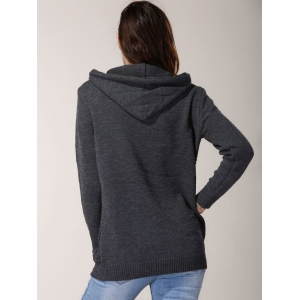 Chic Hooded Long Sleeve Pure Color Women's Sweater - GRAY ONE SIZE(FIT SIZE XS TO M)