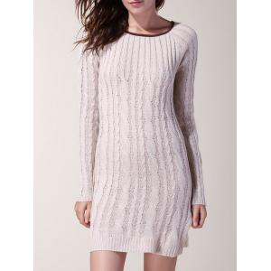 Sweet Scoop Neck Spliced Long Sleeve Sweater For Women