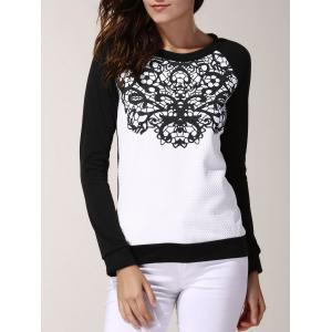 Stylish Round Neck Long Sleeve Color Spliced Printed Sweatshirt For Women