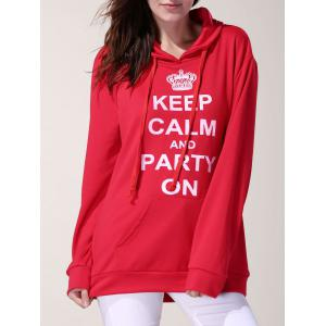 Simple Style Hooded Letter Printed Pocket Design Pullover Hoodie For Women - Red - M