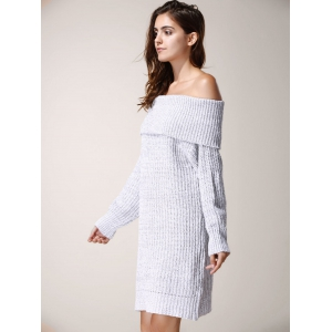 Elegant Low-Cut Off-The-Shoulder Solid Color Long Sleeve Sweater Dress For Women -