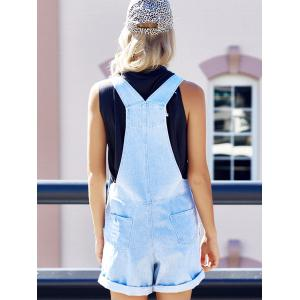 Fashion Rolled-Up Hole Design Denim Women's Overalls -