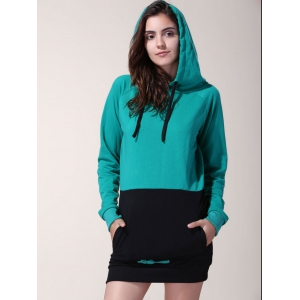 Attractive Drawstring Hooded Hit Color Long Pullover Hoodie For Women - BLACK AND GREEN XL