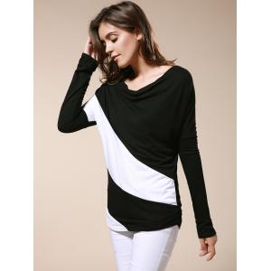 Color Matching Batwing Sleeve Cowl Neck Women's T-Shirt - BLACK S