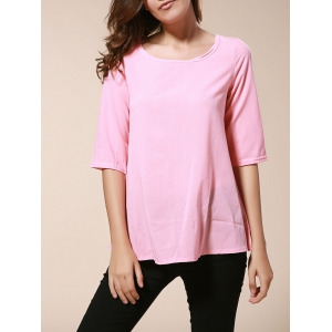 Fashionable Round Neck 3/4 Sleeve Solid Color Loose-Fitting Blouse For Women