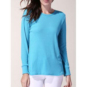 Chic Jewel Neck Long Sleeve Solid Color Bodycon Pullover T-Shirt For Women