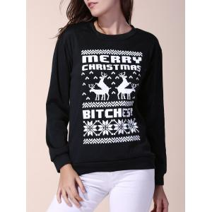 Attractive Round Collar Snowflake and Letter Printed Christmas Sweatshirt For Women