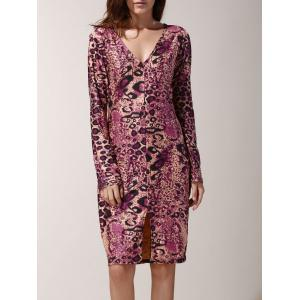 Sexy Plunging Neck Leopard Long Sleeve Pencil Dress For Women