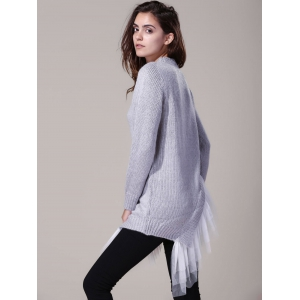 Women's Stylish Round Neck Lace Splicing Long Sleeve Asymmetrical Sweater - GRAY ONE SIZE(FIT SIZE XS TO M)