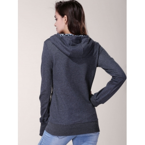 Stylish Inner Floral Printed Hooded Sheathy Pullover Hoodie For Women - BLACK GREY XL