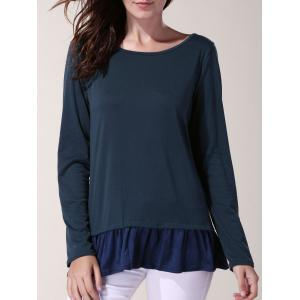 Stylish Scoop Neck Long Sleeve Bowknot Embellished Flounced Women's T-Shirt