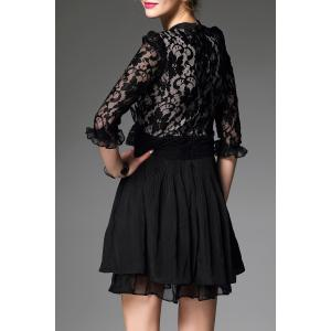 Stand Collar Lace Spliced Pleated Dress -