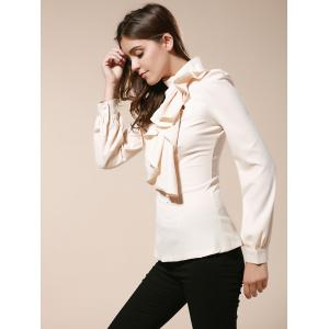 Vintage Turtleneck Ruffles Solid Color Long Sleeves Women's Blouse - AS THE PICTURE L