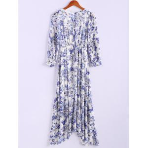 Bohemian Style Round Collar Tiny Floral Print Long Sleeve Chiffon Women's Spring Dress - BLUE M
