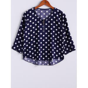 Casual Zipper V-Neck 3/4 Sleeve Polka Dot Women's T-Shirt