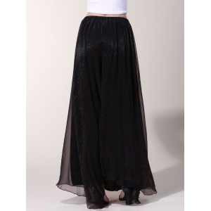 Chic Elastic Waist Pure Color Chiffon Women's Maxi Skirt -