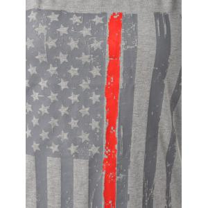 Distressed American Flag Patriotic Tank Top - SMOKY GRAY L