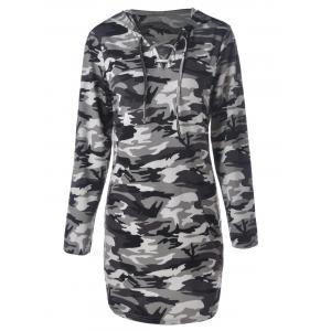 Camouflage Hooded Long Sleeve Shift Dress - CAMOUFLAGE XL