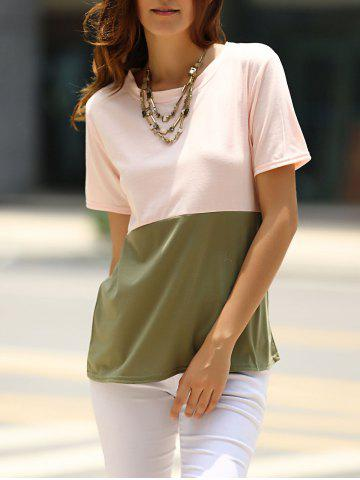 Best Brief Round Neck Color Block T-Shirt For Women