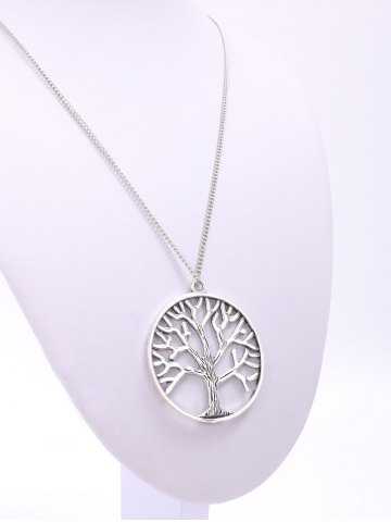 Latest Trendy Solid Color Tree Shape Pendant Sweater Chain Necklace For Women - SILVER  Mobile