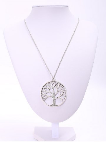 Sale Trendy Solid Color Tree Shape Pendant Sweater Chain Necklace For Women SILVER