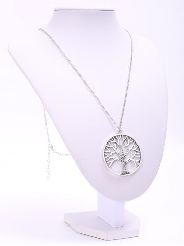 Chic Trendy Solid Color Tree Shape Pendant Sweater Chain Necklace For Women - SILVER  Mobile