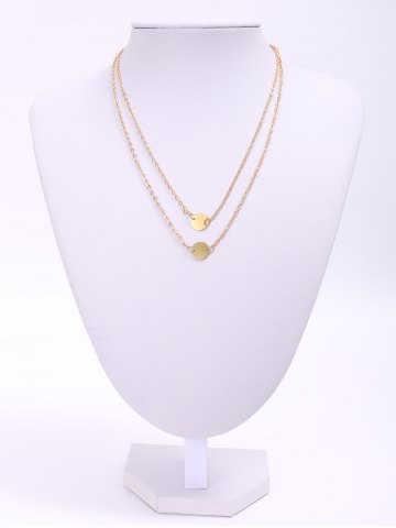 Buy Trendy Solid Color Sequins Embellished Double-deck Necklace Women - Golden