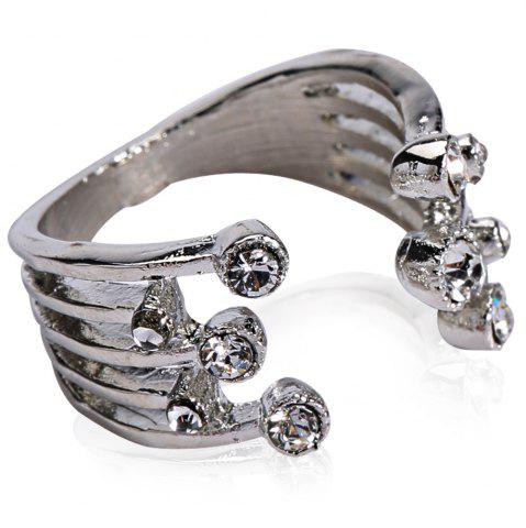 Fashion Punk Rhinestoned Cuff Ring WHITE GOLDEN ONE-SIZE