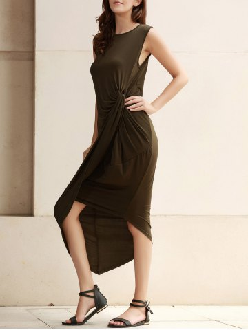 Unique Sexy Sleeveless Solid Color Slit Asymmetric Wrap Pleated Plus Size Dress For Women ARMY GREEN 3XL