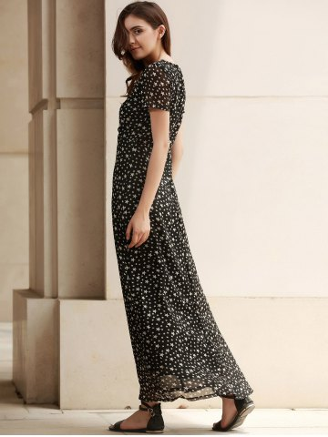 Affordable Low Cut Stars Print Maxi Dress for Summer - M DEEP GRAY Mobile