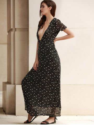 Latest Low Cut Stars Print Maxi Dress for Summer - M DEEP GRAY Mobile