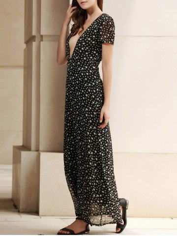 Unique Low Cut Stars Print Maxi Dress for Summer - M DEEP GRAY Mobile