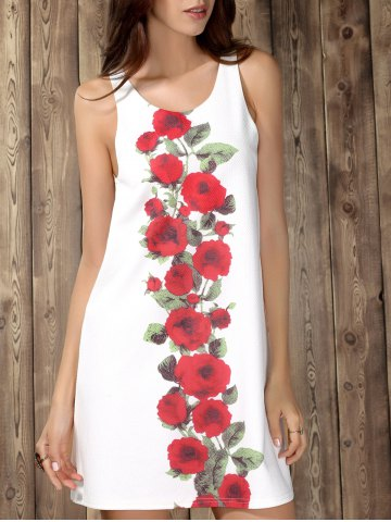 Hot Chic Scoop Collar Sleeveless Floral Print Women's Dress WHITE L