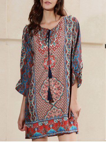 Hot Casual Boho Tribal Print Tunic Shift Dress - S RED Mobile