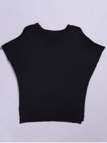 Fancy Stylish Round Neck Knitted Solid Color Batwing Sleeve Women's Tee