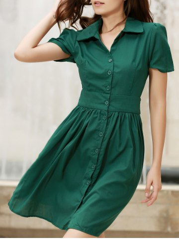 Shops Vintage Turn-Down Collar Short Sleeve Single-Breasted Lace-Up Women's Dress
