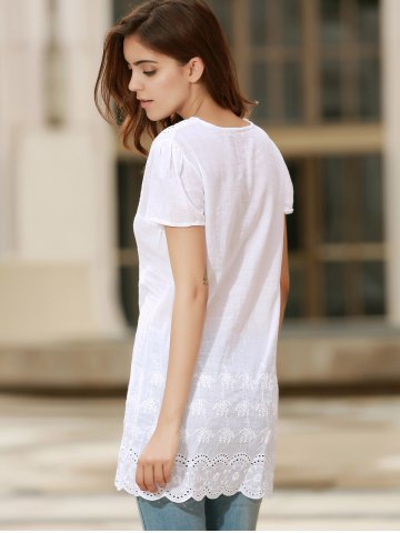New Sexy Plunging Neck Short Sleeve Laciness Solid Color Women's Dress - S WHITE Mobile