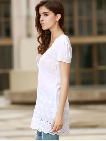 Store Sexy Plunging Neck Short Sleeve Laciness Solid Color Women's Dress - L WHITE Mobile