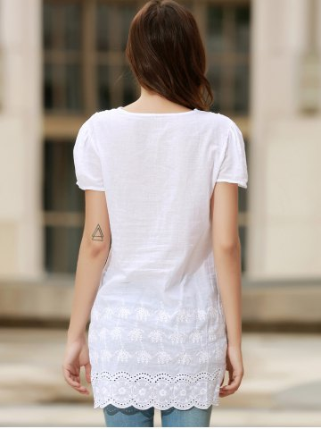 Hot Sexy Plunging Neck Short Sleeve Laciness Solid Color Women's Dress - L WHITE Mobile